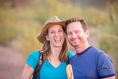 Pair of Smiling Hikers Royalty Free Stock Photos