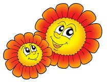 Pair of smiling red flowers. Color illustration Stock Images