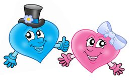 Pair of smilling hearts. Color illustration Royalty Free Stock Images