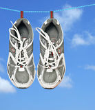 Pair of sneakers on line Stock Photography