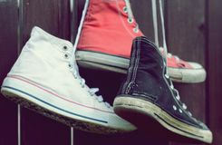 Pair sneakers with vintage effect Stock Images