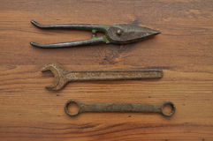 Pair of snips and wrenches Stock Photo