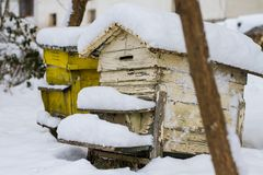 A pair of snow covered bee hives. Apiary in wintertime. Beehives covered with snow in wintertime. stock photos