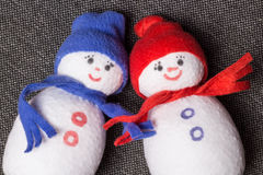 Pair Snowman. Soft toy. Stock Images