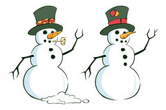 Pair of Snowmen. A Vector Illustration of 2 snowmen Stock Photography