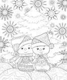 Adult coloring book,page a Christmas theme image with a pair of snowmen on the background. A pair of snowmen wearing cap and scarf near the fir tree on the vector illustration