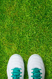 Pair Of Soccer Shoes On green grass field Royalty Free Stock Photo