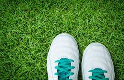 Pair Of Soccer Shoes On green grass field. Pair Of Soccer Shoes  On green grass field Royalty Free Stock Photo