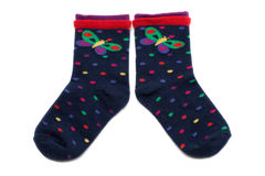 Pair of socks. Pair of colored children's socks. Isolate on white royalty free stock photos