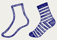 Pair socks. Doodle style Royalty Free Stock Images