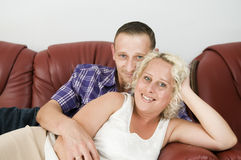 Pair on the sofa Royalty Free Stock Photography