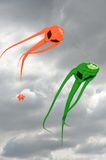 Pair of space invader kites. With dark sky Stock Images