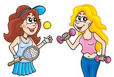 Pair of sport ladies. Color illustration Stock Photos