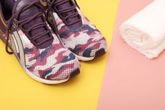 Pair of sport shoes on colorful background. Stock Image