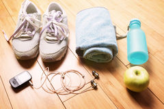 Pair of sport shoes and fitness accessories. Stock Images