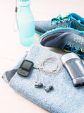 Pair of sport shoes and fitness accessories. Royalty Free Stock Photo