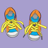 Pair of sport shoes. Fully editable vector Illustration of a pair of girl shoes Stock Image