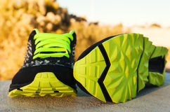 Pair of sport shoes outdoors. Horizontal composition Stock Image