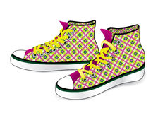 Pair of sport sneakers. Hand drawn stylish. Tying sports shoe from checkered fabric pattern isolated over white background Royalty Free Stock Image