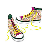 Pair of sport sneakers. Hand drawn stylish  Royalty Free Stock Photos