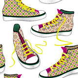 Pair of sport sneakers seamless pattern. Hand drawn stylish  Royalty Free Stock Images