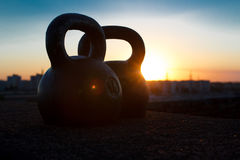 Pair of sports pood-weight kettlebells Stock Photo