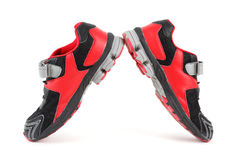Pair of sports shoes, black and red colors Royalty Free Stock Images