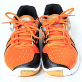 Sports shoes. Pair sports shoes detail view Stock Photo