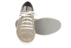 Pair of sports summer shoes. On a white background Stock Photos