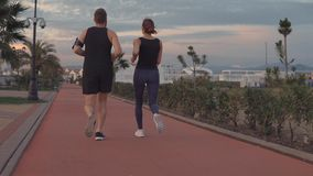 Pair of sporty guy and girl are jogging in park area in evening, back view