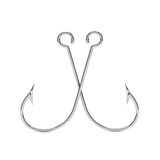 Pair of Stainless Steel Fishing Hooks. 3d Rendering Stock Photos