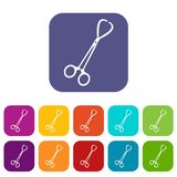 Pair of stainless steel surgical forceps icons set Royalty Free Stock Photos