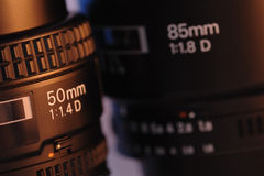 Pair of standard prime lens Royalty Free Stock Images