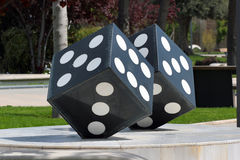 Pair of stone dice in a public park, Baku, Azerbaijan stock photos
