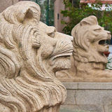 Pair of stone lions Royalty Free Stock Image