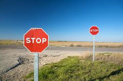 Pair of stop traffic signs Stock Image