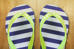 Pair of  striped flip flop Royalty Free Stock Photos