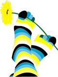 Pair striped  socks. Pair cheerful striped socks with a flower Royalty Free Stock Image