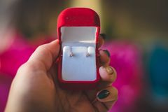 Pair of Stud Earrings in Red Box Royalty Free Stock Photos