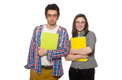 The pair of students isolated on white Stock Photos