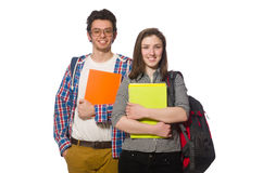 Pair of students isolated on white Stock Photography