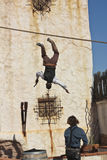 A Pair of Stuntmen Perform at Old Tucson Stock Photo
