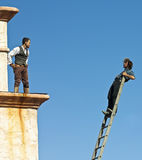 A Pair of Stuntmen Perform at Old Tucson Royalty Free Stock Photos