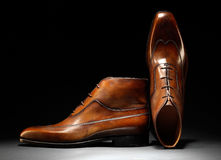 Pair of stylish handmade brown leather shoes Stock Photos