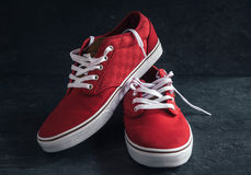 Pair of stylish red sneakers Royalty Free Stock Photos