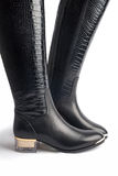 Pair of stylish women's leather boots Royalty Free Stock Image