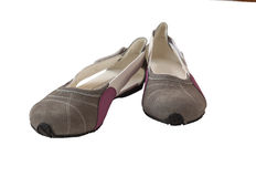 Pair of suede women's shoes low-heeled shoes Stock Photography