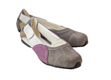 A pair of suede women's shoes with low heels Stock Photo