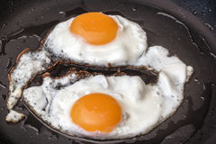 Pair Of Sunny Side Up Fried Eggs Prepared In Heavy Duty Frying Pan Detail Royalty Free Stock Photo