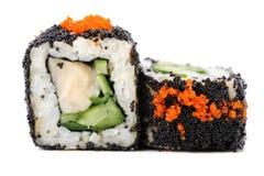 Pair sushi rolls with white fish, vegs, cream cheese and orange Stock Photos